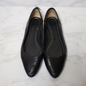 Frye Black Leather Regina Ballet Flats